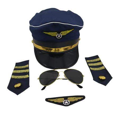 Pilot Captain Navy Hat Sunglasses Badge Epaulets Adult Costume Accessory Set - Woman Pilot Costume