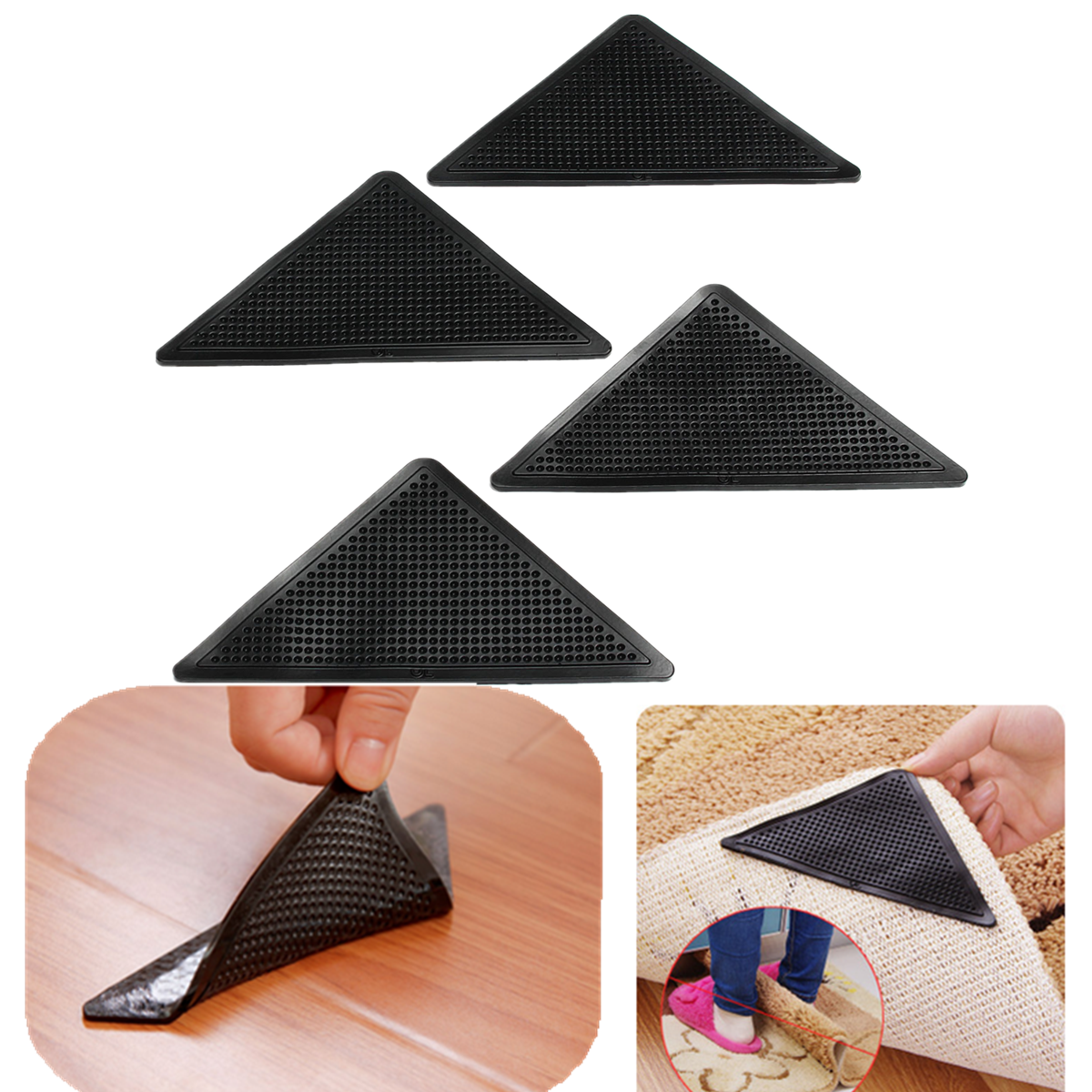 4pcs/Set Non-Skid Rug Pad Reusable Non-slip Sticker Rubber Floor Rug Carpet Mat Grippers Triangle-shaped Corners Pad Anti Skid Washable Silicone Tape Stickers