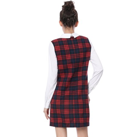 Christmas Dress.Unique Bargains Women S Contrast Peter Pan Long Sleeve Check Christmas Dress Red Size Xs 2