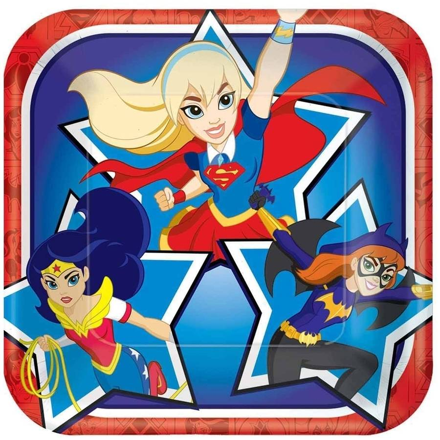 "DC Super Hero Girls 7"" Square Plate, 8 Count, Party Supplies"