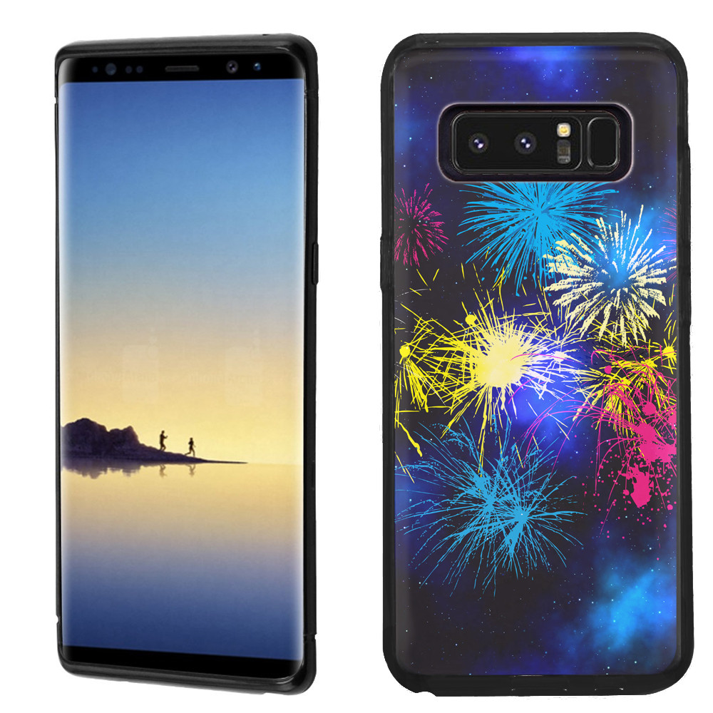 Slim-Fit case for Samsung Galaxy Note 8, OneToughShield ® TPU Gel Protector Phone Case (Black Bezel) - Fireworks