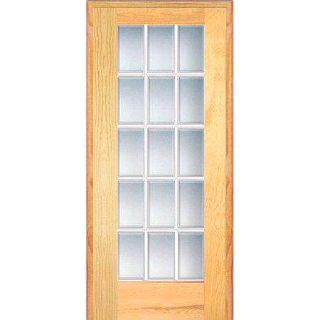 Verona Home Design Wood 1 Panel Natural Interior French Door