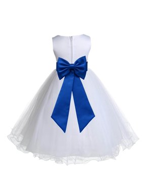 2e5e5f97ebc Product Image Ekidsbridal Satin White Royal Blue Tulle Rattail Christmas  Party Bridesmaid Recital Easter Holiday Wedding Pageant Communion