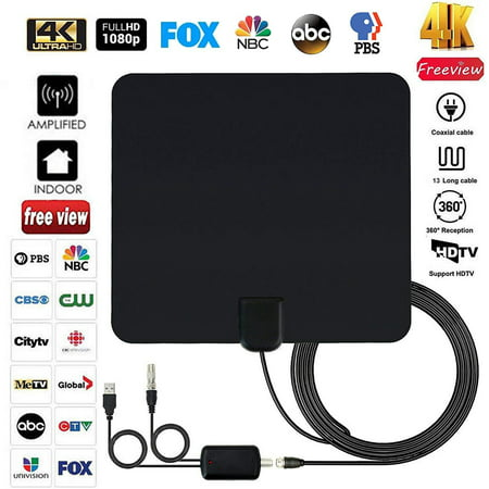 2019 Newest Indoor Digital TV Antenna for Freeview Local Channels, Strongest Reception Clear Television 100 Miles Range HDTV Antenna for 4K 1080p VHF UHF w/ Amplifier Signal Booster & 13ft Coax