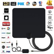 2019 Newest Indoor Digital TV Antenna for Freeview Local Channels, Strongest Reception Clear Television 100 Miles Range HDTV Antenna for 4K 1080p VHF UHF w/ Amplifier Signal Booster & 13ft Coax Cable