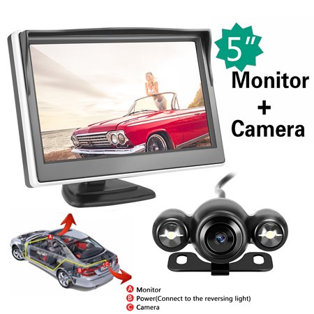 Wireless Car Vehicle Backup Camera & Monitor Parking Assistance System Night Vision Waterproof Rear View Camera + 5 inch HD Monitor for