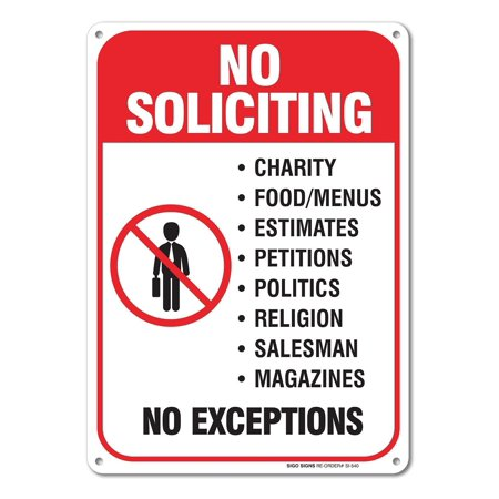 No Soliciting Sign Legend