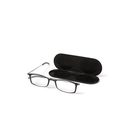 ThinOptics Brooklyn Reading Glasses + Milano Anodized Aluminum, Magnetic case   Rectangular Black Frames, 1.50 Strength