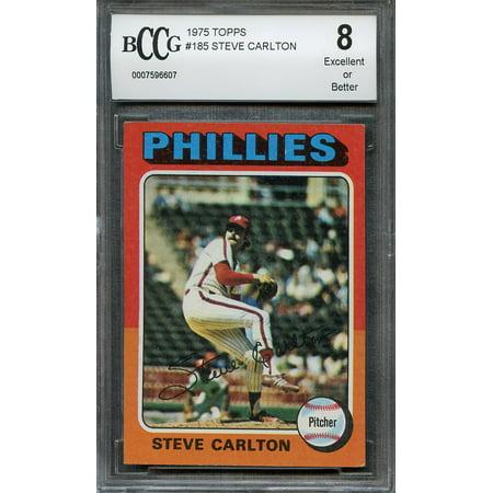 1975 topps #185 STEVE CARLTON philadelphia phillies BGS BCCG 8 (Steve Carlton Merchandise)