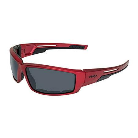 Global Vision Eyewear Sly RED MET SM Sly Motorcycle Sunglasses, Smoke Lens, Metallic Frame, Red