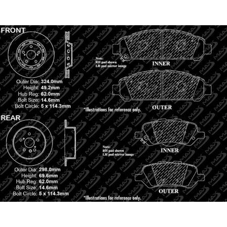 Max Brakes Front & Rear Premium Brake Kit [ OE Series Rotors + Ceramic Pads ] KT078643 | Fits: 2009 09 2010 10 2011 11 2012 12 2013 13 Toyota Venza - image 5 of 8