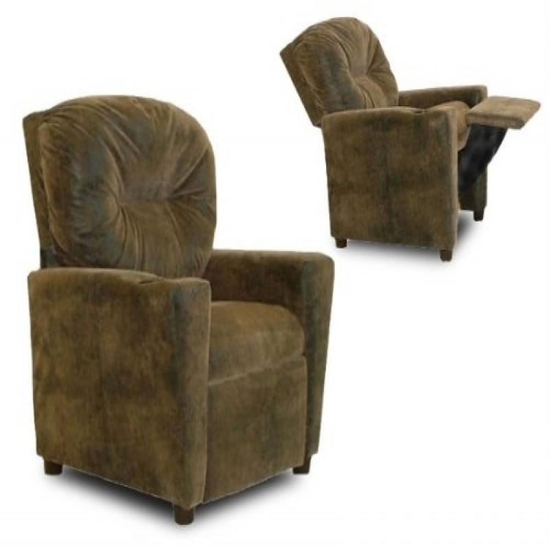 Cup Holder Leather Like Kid's Recliner Upholstery: Distressed Brown Bomber Leather Like