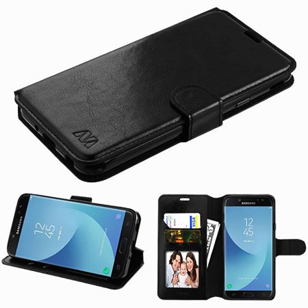 Samsung Galaxy J7 (2018), J737, J7 V 2nd Gen, J7 Refine - Leather Flip Wallet Case Cover Stand Pouch Book Magnetic Buckle BLACK 2nd Time Zone Black Dial