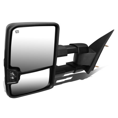 For 2014 to 2017 Chevy Silverado / GMC Sierra Powered+Heated+Smoked LED Turn Signal Towing Mirror (Left /