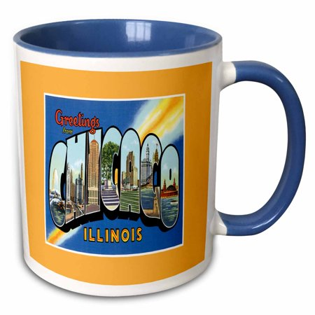 3dRose Greetings from Chicago Scenic Colorful Postcard Reproduction - Two Tone Blue Mug, 11-ounce