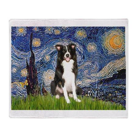 Collie Embroidered Fleece - CafePress - Starry Night Border Collie - Soft Fleece Throw Blanket, 50