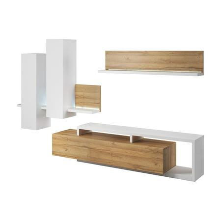 quality design 3575c df848 Bota TV Wall Unit Set, White / Grandson Oak