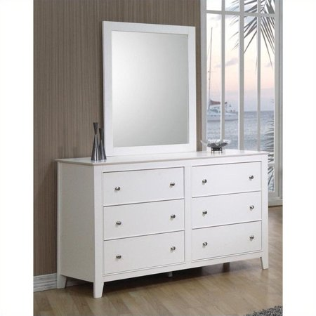 coaster selena 6 drawer double dresser and mirror set in white finish. Black Bedroom Furniture Sets. Home Design Ideas