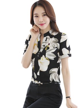 bf49e5c2bfebc Ropalia Women Summer Floral OL Style Office Wear Short Sleeve T-shirt Blouse