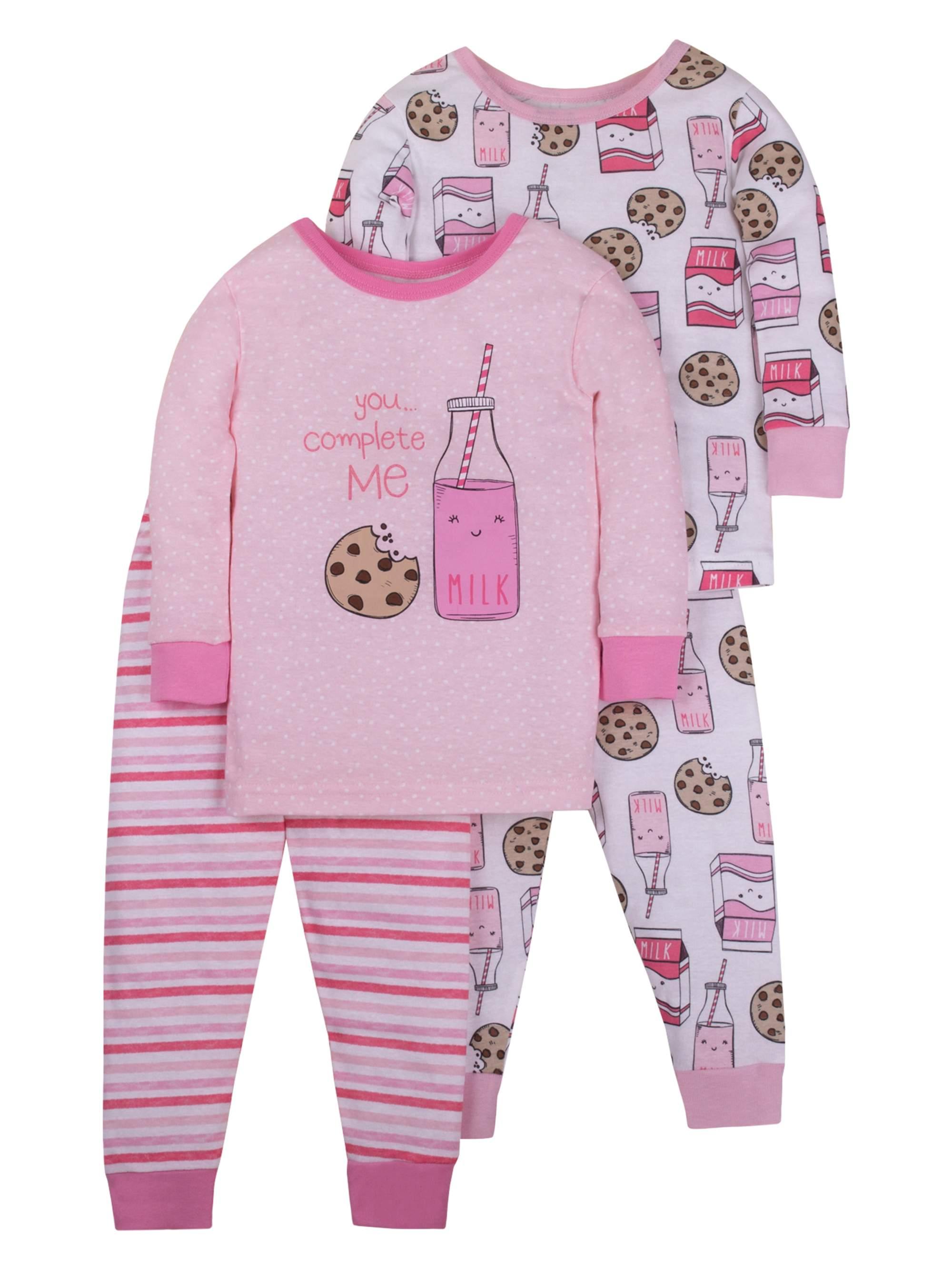 Cotton Tight Fit Pajamas, 4-piece Set (Baby Girls & Toddler Girls)