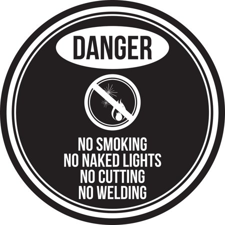 Danger No Smoking No Naked Lights No Cutting No Welding Black and White Safety Warning Round Sign - 12 Inch ()