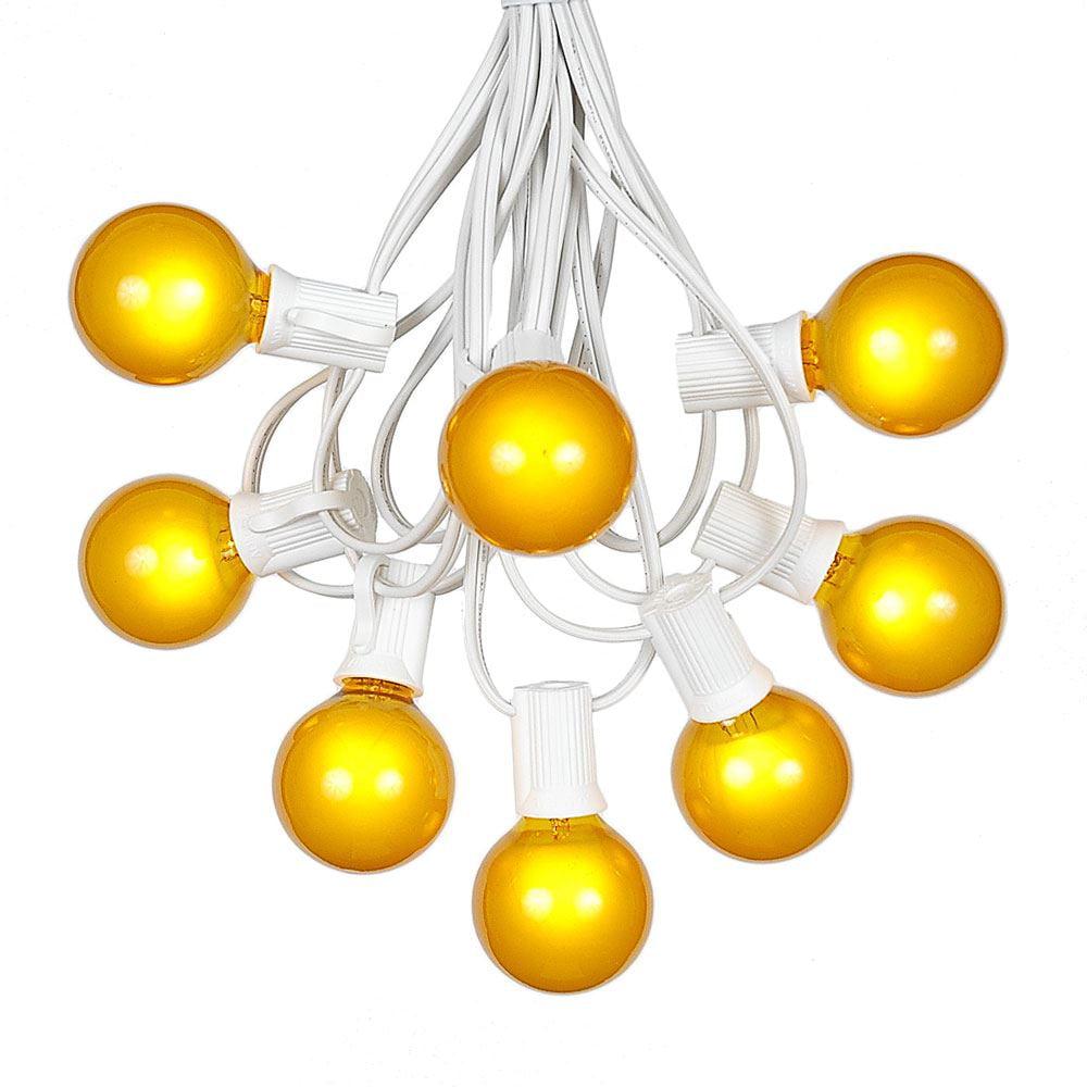 G40 Patio String Lights with 125 Clear Globe Bulbs – Wedding Outdoor String Lights – Market Bistro Café Hanging String Lights – Patio Garden Umbrella Globe Lights - White Wire - 100 Feet
