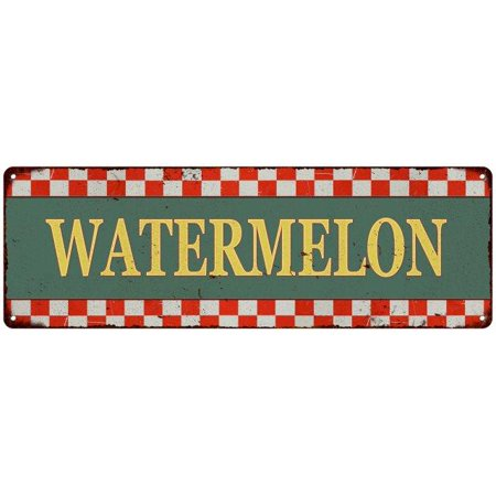 Old Style Metal - Watermelon Checkerboard Country Style Vintage Metal Sign 6x18 Old Advertising Man Cave Game Room M6180683