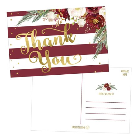 25 4x6 Blank Christmas Holiday Thank You Postcards Bulk, Cute Modern Fancy Winter Note Card Stationery For Wedding, Bridesmaids, Bridal or Baby Shower, Teachers, Appreciation,Religious, Business Cards