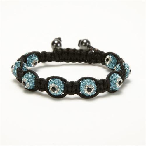 Alexander Kalifano SB-EE-11 Shamballa Evil Eye Crystal Bracelet - Aquamarine