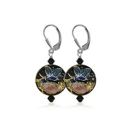 Gem Avenue 925 Sterling Silver Cloisonne Beads Leverback Drop Earrings