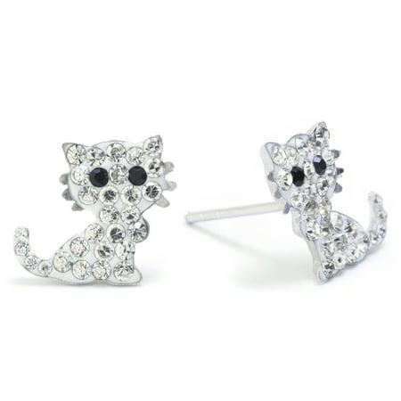Sterling Silver Pave Crystal Cat Stud Earrings
