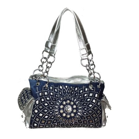 Zzfab Starburst Concealed Carry Purse Rhinestone Western Handbag Blue