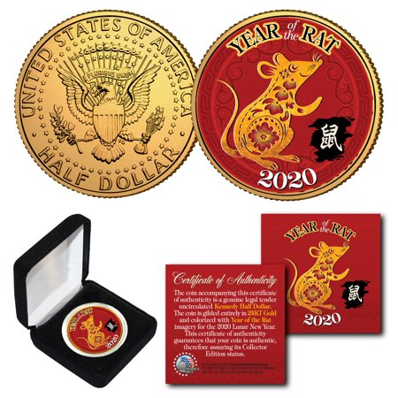 2020 Lunar New YEAR OF THE RAT 24K Gold Plated JFK Half Dollar US Coin with BOX Raft Dry Box