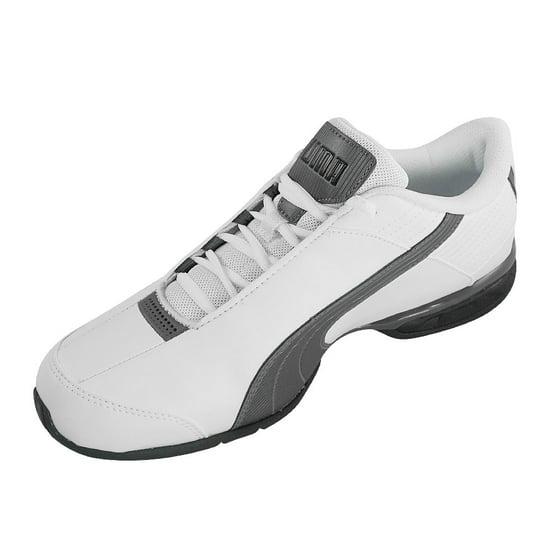 f7e416ce3b198f Puma Men s Super Elevate White   Pewter Black Low Top Leather Running Shoe  - 8.5M
