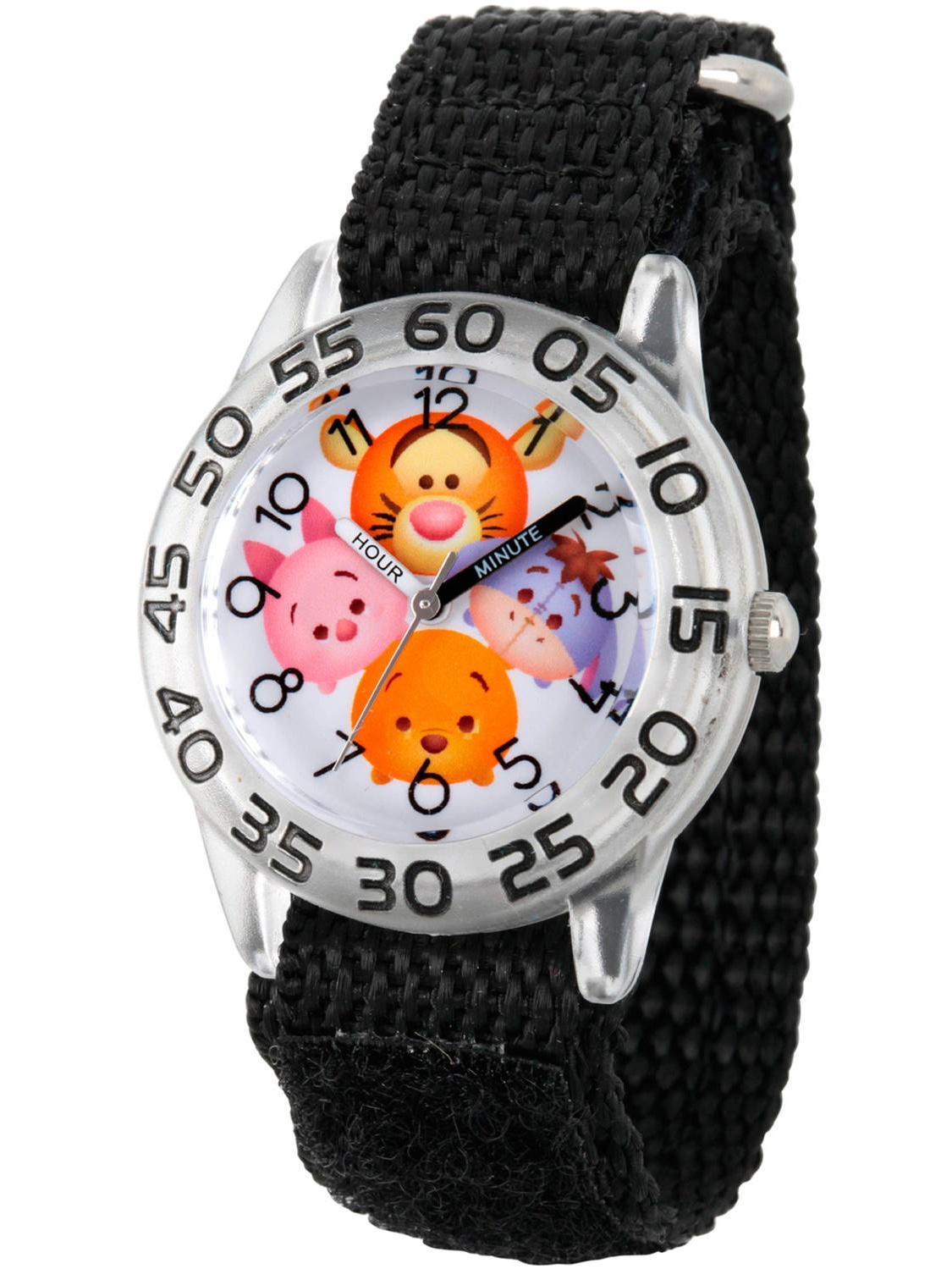 Tsum Tsum, Tigger, Pooh, Goofy, Eeyore and Piglet Boys' Clear Plastic Time Teacher Watch, Black Hook and Loop Nylon Strap with Black Backing