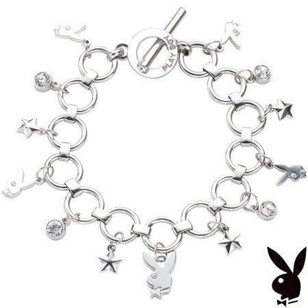 Crystal Star Charm Bracelet - Playboy Bracelet Bunny Charm Stars Crystals Toggle Platinum Plated Playmate Gift