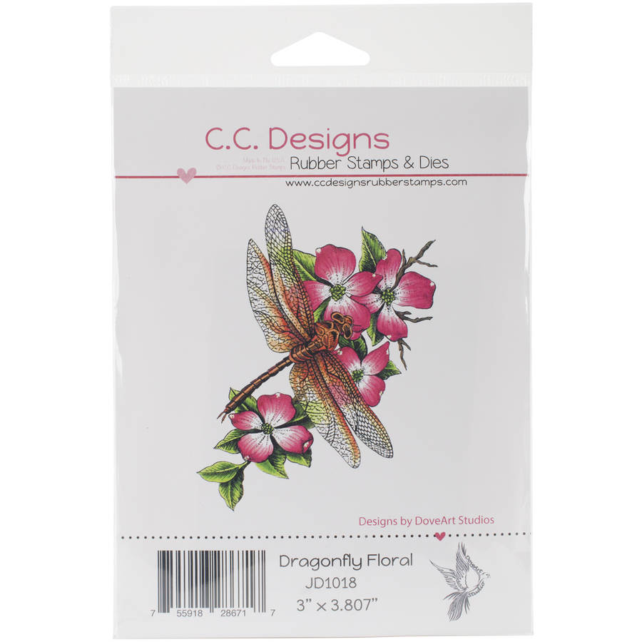 DoveArt Cling Stamp 3 Inch X 4 Inch-Dragonfly Floral