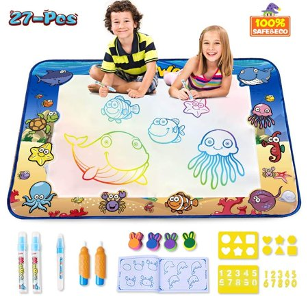 High Supply AquaDoodle Mat,Large Size 40x28 inches Kids Toys with Colorful Aqua Magic Mat&Water Drawing Doodle Mat,Educational Kids Toys for Age 1 2 3 4 5 6 7 8 9 10 11 Year Old Boys Girls Age