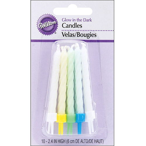 "Wilton 3"" Glow in the Dark Candles & Cake Decorations, Assorted Colors 10 ct. 2811-165"