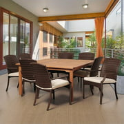 Amazonia Warner 9-Piece Square Patio Dining Set | Eucalyptus Wood and Wicker Chairs with cushions | Ideal for Outdoors and Indoors