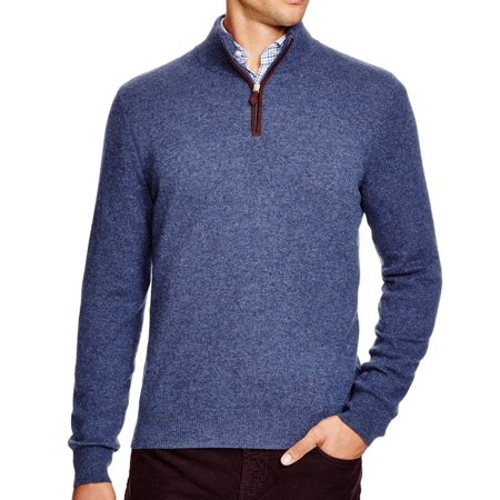 New Mens Cashmere Sweater - Bloomingdale's NEW Blue Mens Size Medium M 1/2 Zip Cashmere Sweater