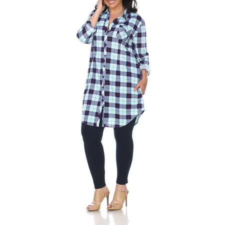Women's Plus Size Plaid Tunic Top - Plus Size Corsette