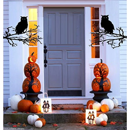 HALLOWEEN DECOR ~ Halloween # 2 (Halloween Owls and Branches) Halloween Decal,  (Owls and Branches) THESE ARE NOT WINDOW CLINGS - Costume Hire Prices