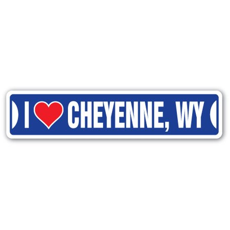 Wyoming Roads - I LOVE CHEYENNE, WYOMING Street Sign wy city state us wall road décor gift