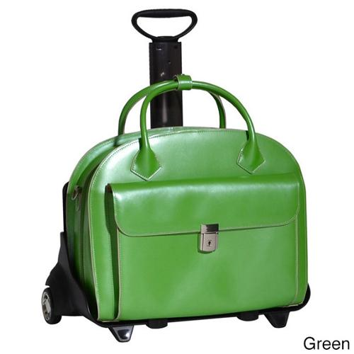 McKlein Glen Ellyn Leather Detachable-wheeled Laptop Case Green