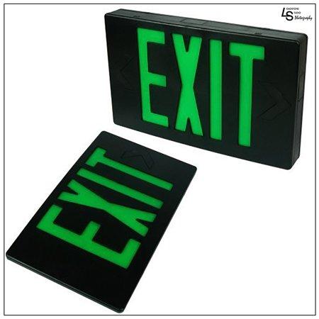 eToplighting Black Finished LED Green Emergency Lighting Exit Sign Light- Modern Battery Backup UL924, WMLS1660