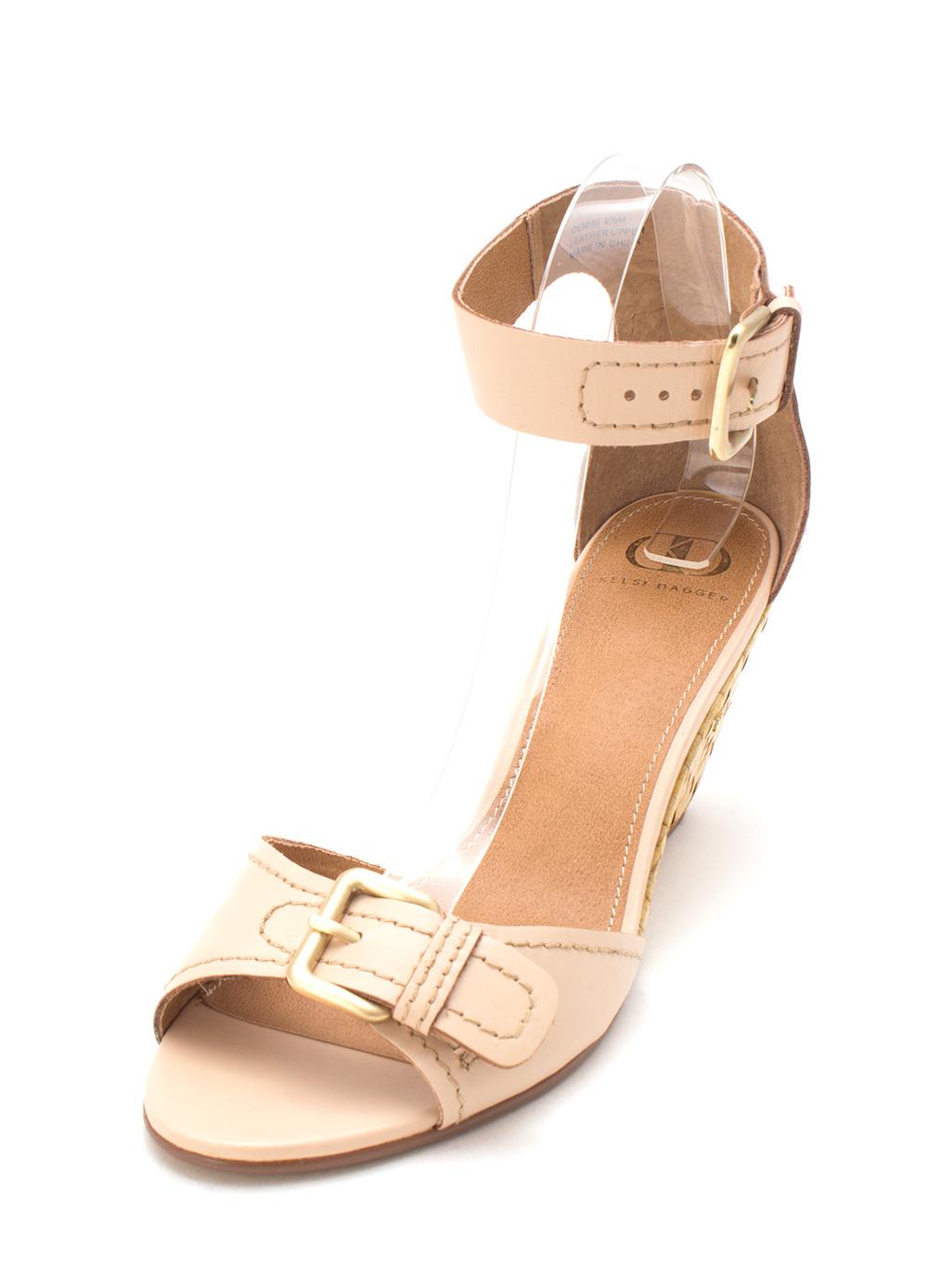 Kelsi Dagger Womens Gemini Leather Open Toe Casual, Nude Leather, Size 9.5