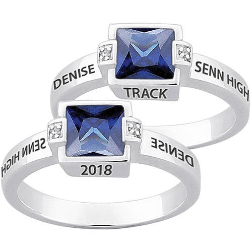 Personalized Sterling Silver ''Freestyle'' Square Birthstone & Diamond Class Ring