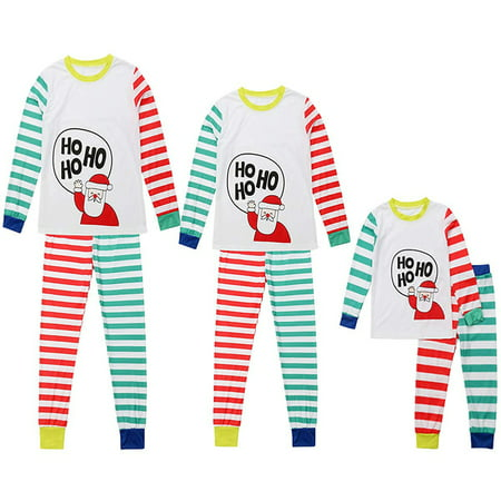 Mama Dad Kid Ho Ho Ho Santa Claus Print Family Matching Clothes Long Sleeve and Pants Striped Christmas Pajamas Set (Christmas Pajamas For The Whole Family)
