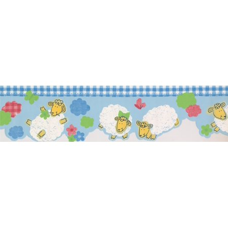 White Yellow Sheep Blue Wallpaper Border for Kids Bathroom Bedroom, Roll 15' x 6'' - image 2 of 3